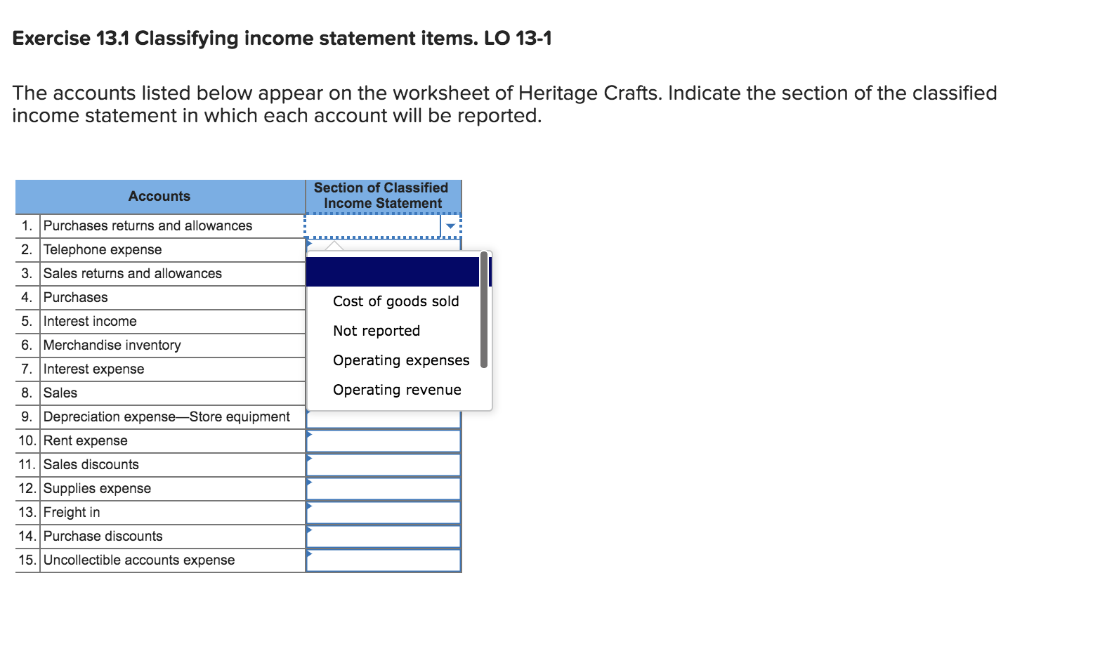 Question Exercise 13 1 Classifying Income Statement Items