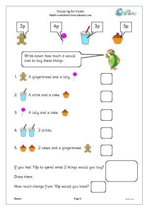 Shopping For Treats Money Maths Worksheets For Year 1 Age