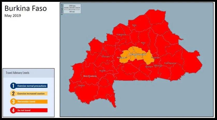 La carte émise par le département d'Etat américain concernant le Burkina Faso