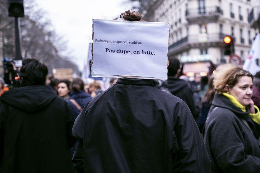 Dans le cortège du 9 janvier 2020 à Paris.