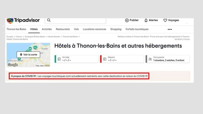 Sur la plateforme américaine Tripadvisor, toutes les destinations françaises sont frappées de cette mise en garde.