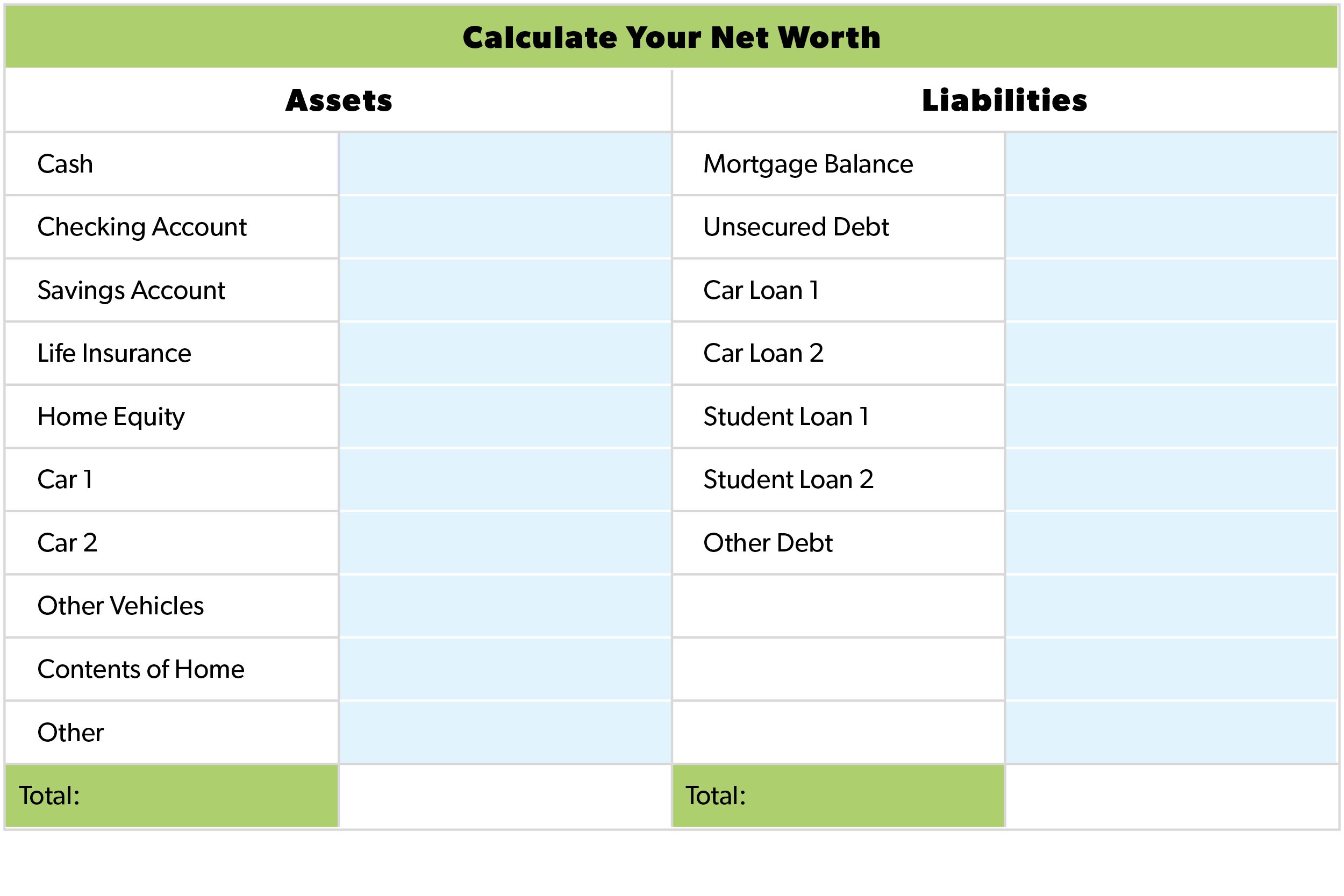 48 Printable Net Worth Worksheet Hd Docx Download