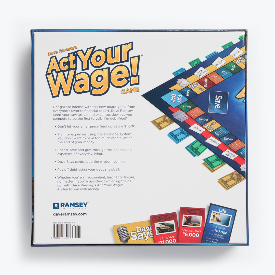 Dave Ramsey S Act Your Wage Board Game