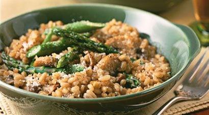 Barley Risotto with Asparagus and Mushrooms