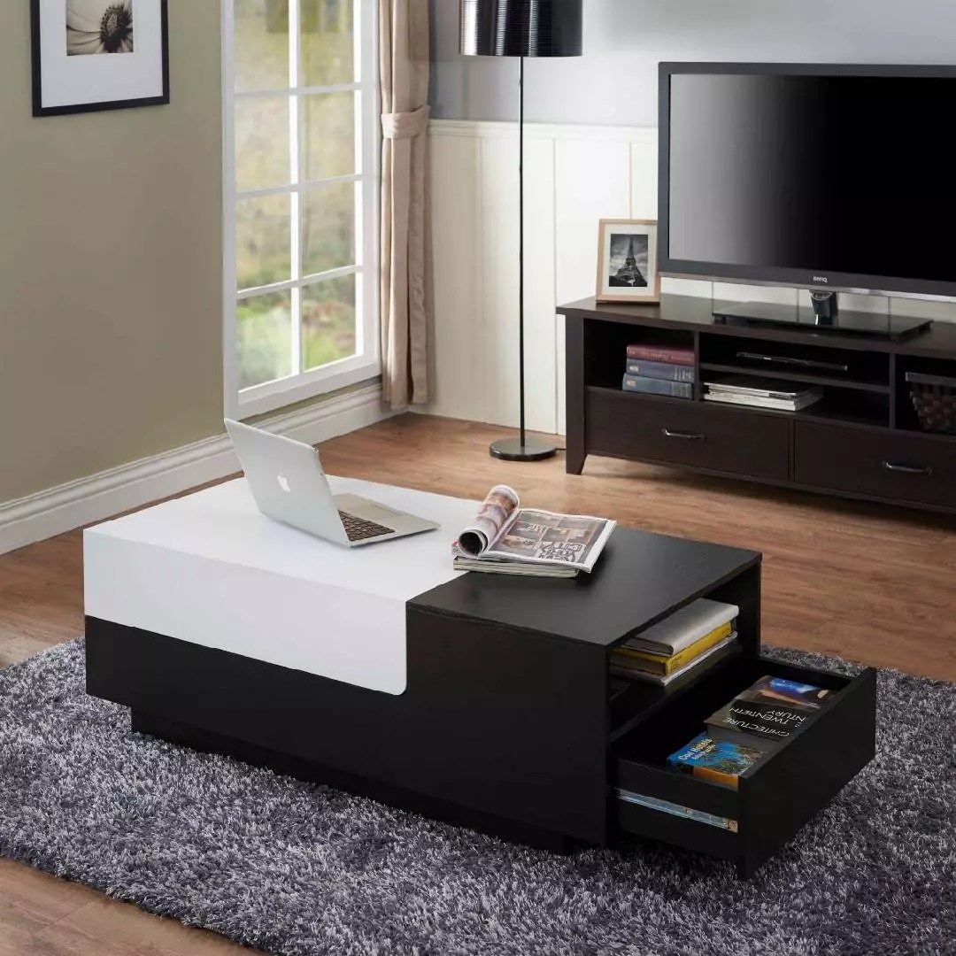 black and white square coffee table