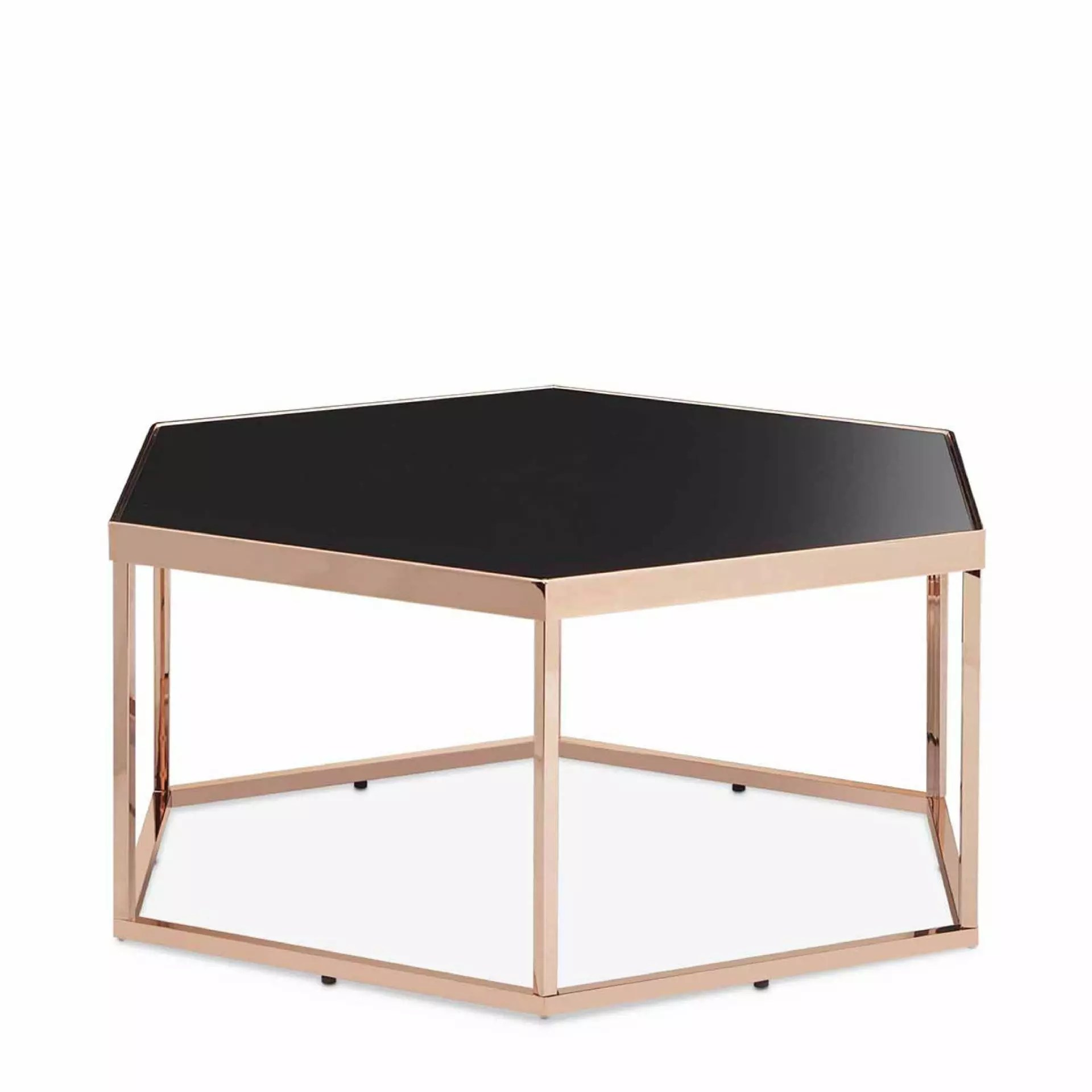 hexagonal black glass coffee table