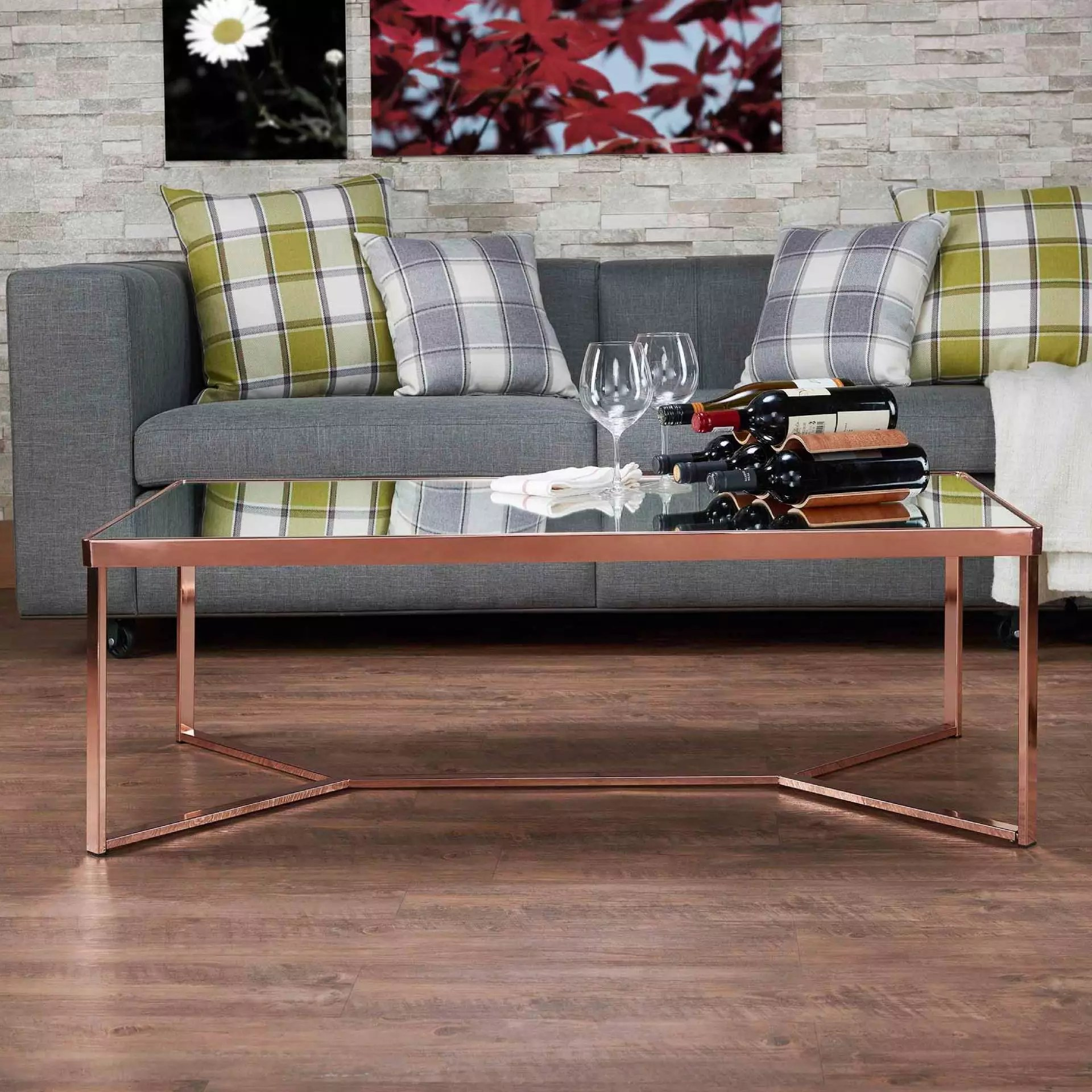 mirror surface glass coffee table