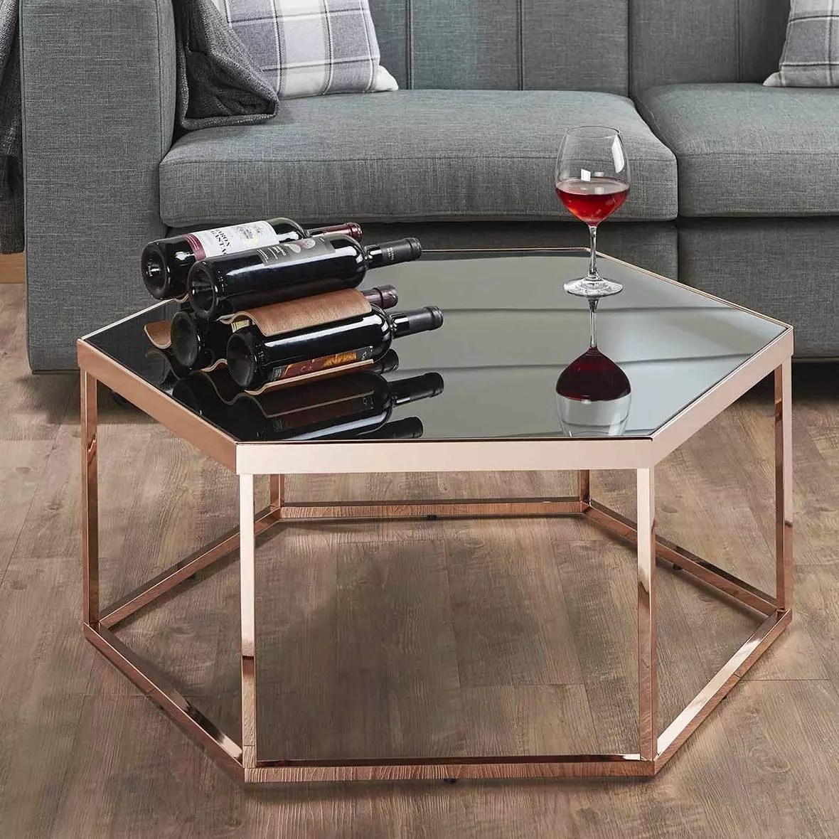 hexagonal black glass coffee table