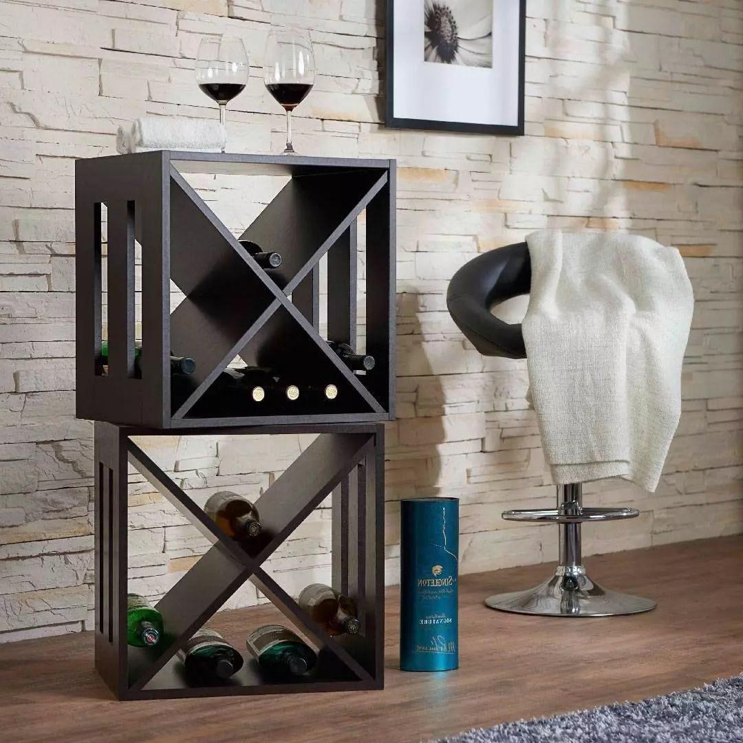modern square storage wine rack flat