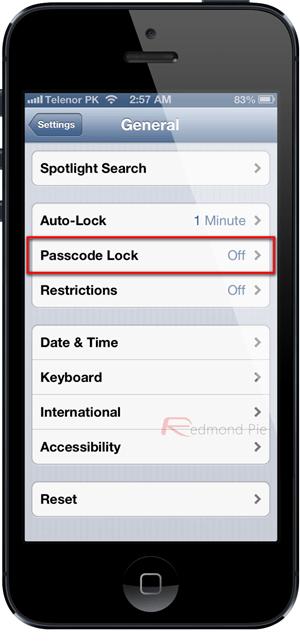 Passcode lock