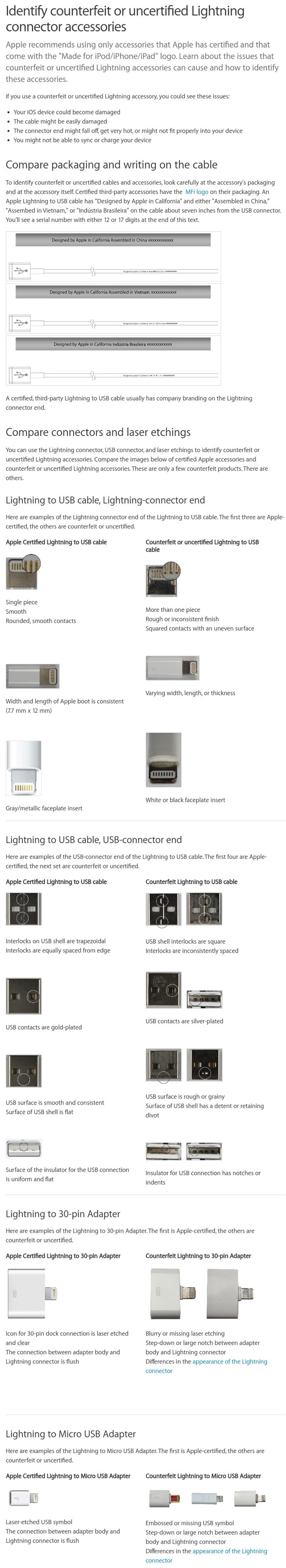 Apple lightning fake