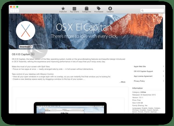 el capitan mac app store