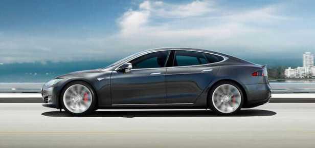 Side view of a Tesla Model S.
