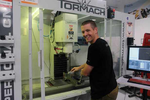 John Saunders using his Tormach CNC machine