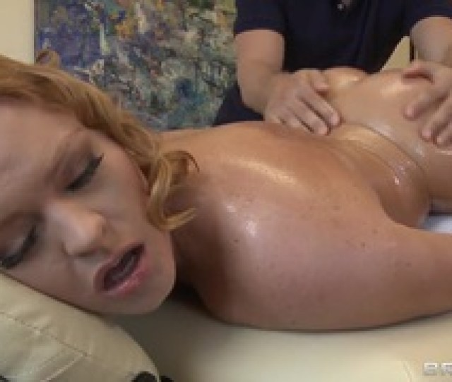 Busty Krissy Lynn Gets An Oiled Massage By Her Boyfriends Brother