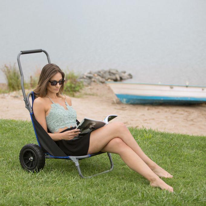 chaise de plage pliante a roulettes