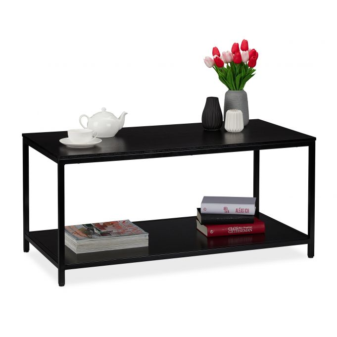 table basse noire aveec support