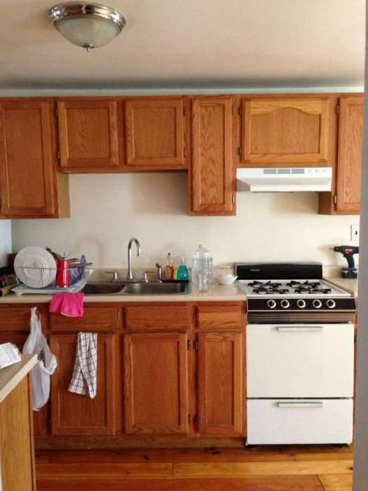 Before Photos Of Unpainted Kitchen Cabinets Waiting To Be Painted