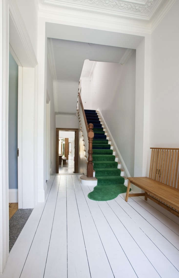 Remodeling 101 All About Stair Runners Remodelista   Carpet Runners For Stairs And Landing   Carpet Hampton Style   Hallway   Stair Runner Matching Landing   Fitted   Farmhouse