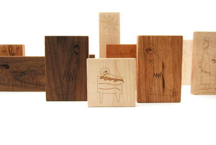 Wooden Block Nativity Set