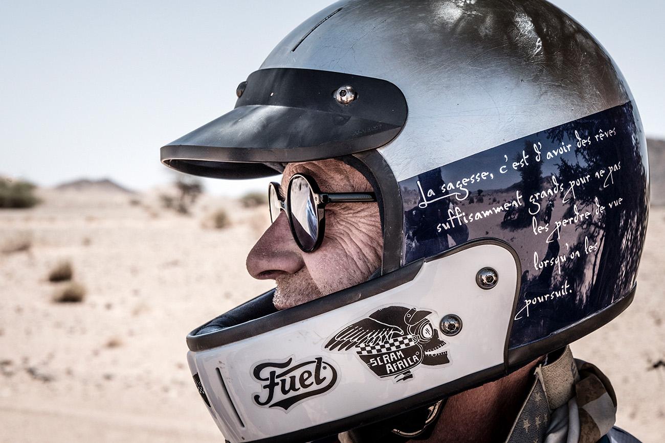Rider in helmet on Scram Africa 2019