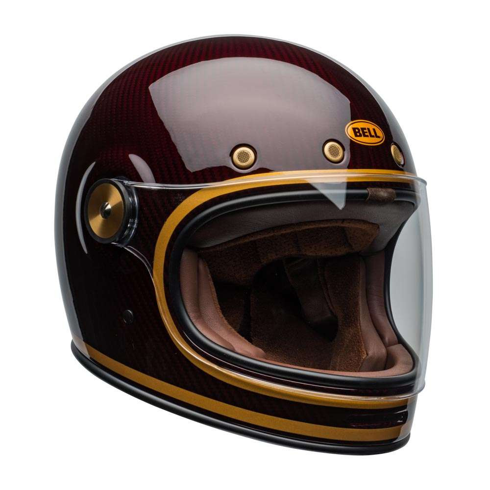 Bell Bullitt Carbon Helmet Transcend Gloss Candy Red Gold [clear-shield-front-left]