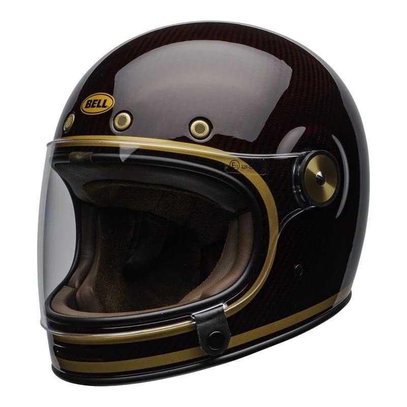 Bell Bullitt Carbon Culture Helmet Transcend Gloss Candy Red Gold [clear-shield-front-left]
