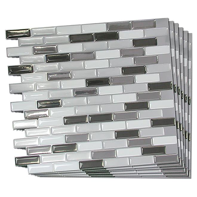 self adhesive wall tile metallik 6 pack