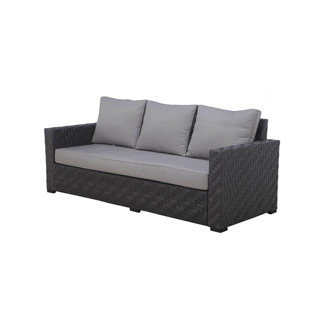 sofa de patio dartford allen roth 3 places 34 po x 83 po aluminium gris et noir