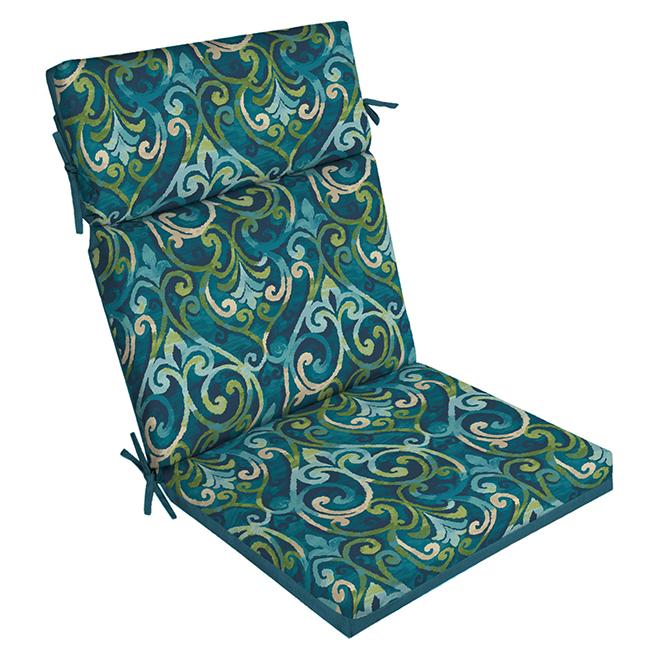 high back chair cushion 44 x 21 x 4 polyester blue