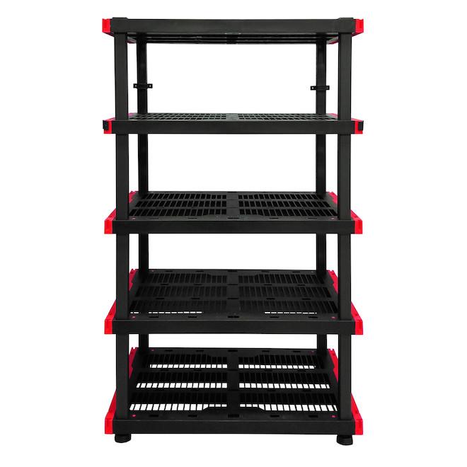 etagere modulaire de rangement a 5 tablettes craftsman plastique 72 po x 40 po x 24 po noir