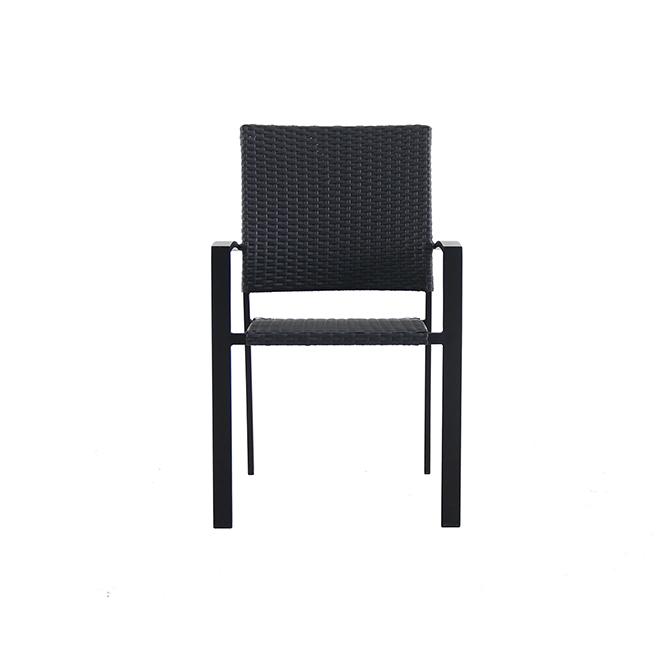 style selections stackable patio chair pelham bay 34 65 in steel wicker black