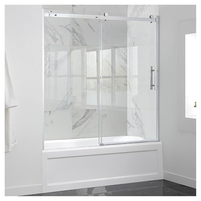 porte de bain coulissante en verre transparent 60 chrome