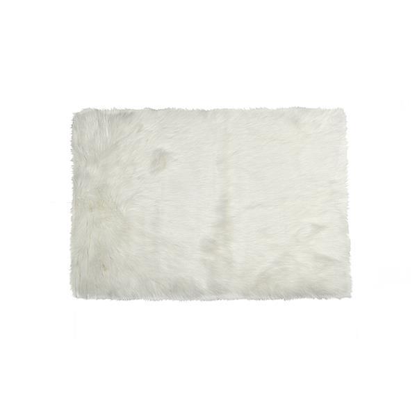 tapis hudson en fausse fourrure de mouton 5 x 8 blanc