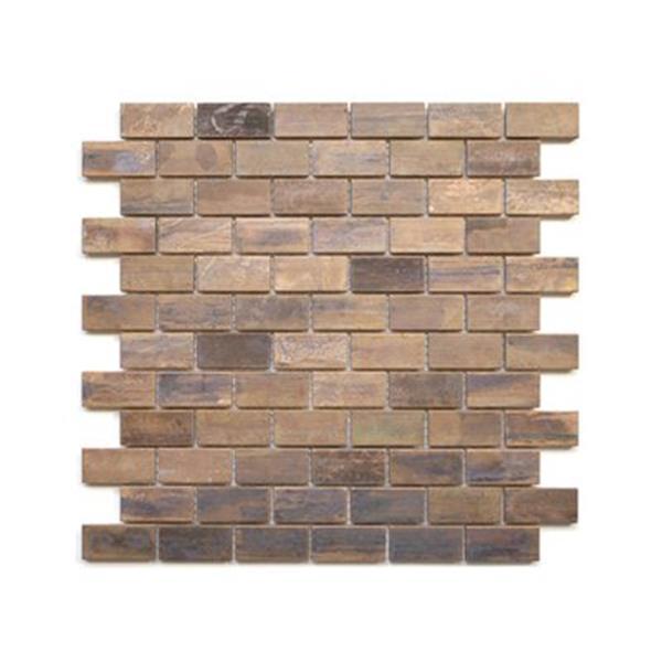 eden mosaic tiles medium brick mosaic tile antique copper 11 pack