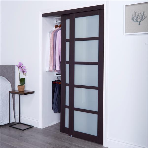 reliabilt renin 60 in x 80 in dark brown sliding frosted glass door