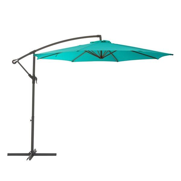 corliving offset patio umbrella turquoise blue