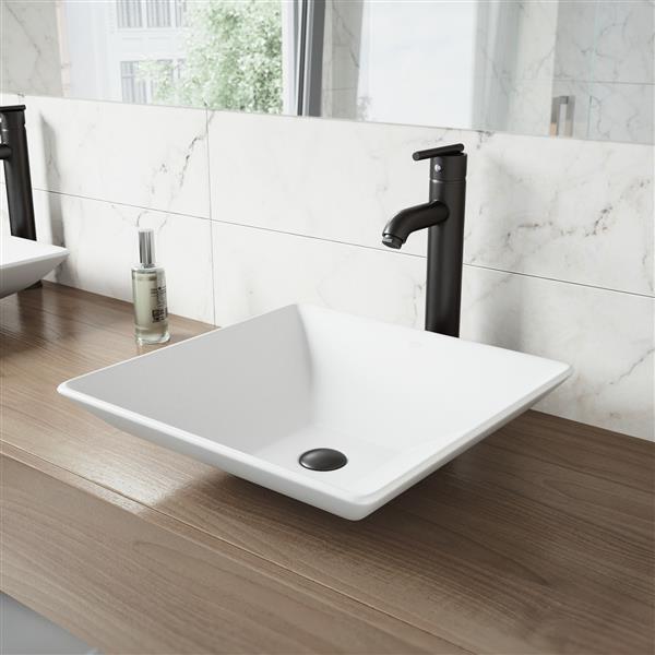 robinet pour vasque de salle de bain noir mat