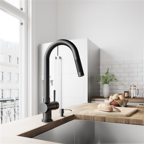 robinet de cuisine avec douchette retractable noir mat