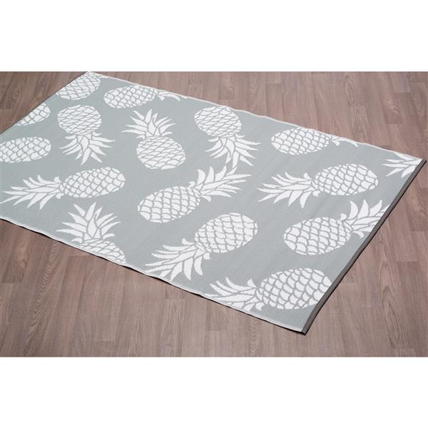 erbanica pineapples outdoor plastic grey rug 6 x 9