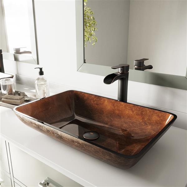 vigo glass vessel bathroom sink with faucet 22 in bronze
