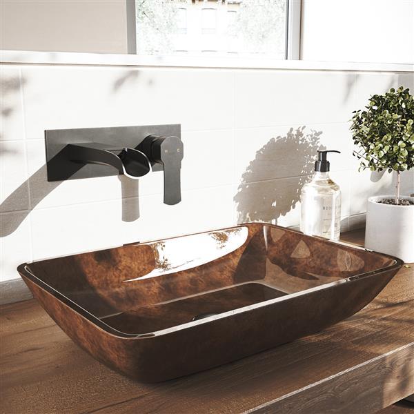 robinet pour salle de bain mural cornelius noir mat
