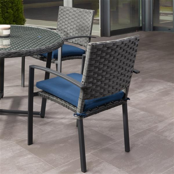 corliving rattan patio dining chairs charcoal blue set of 4