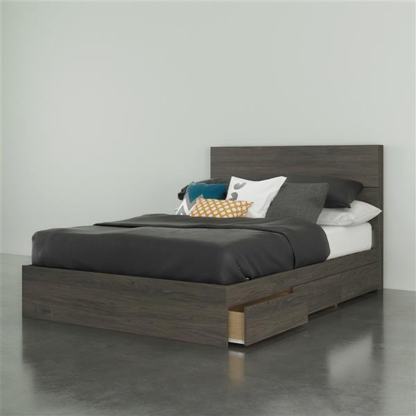 ensemble de chambre a coucher 2 pieces nexera gris ecorce lit double
