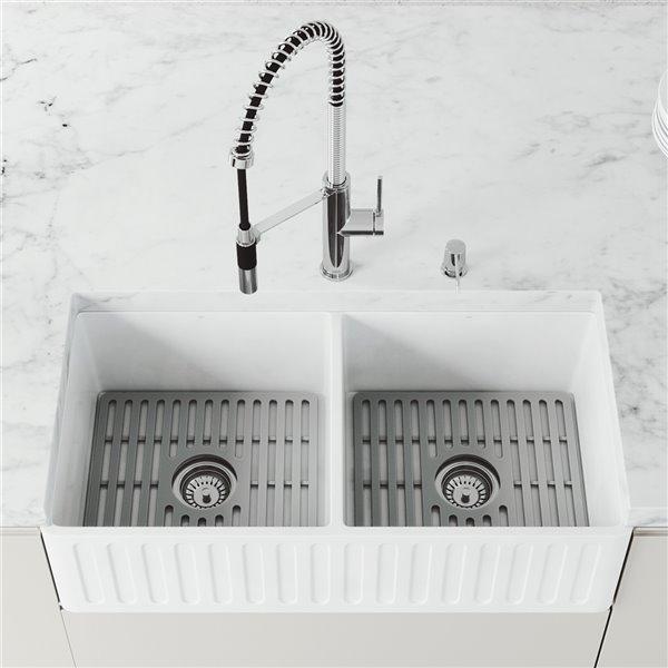 vigo matte stone white kitchen sink double bowl 42 in
