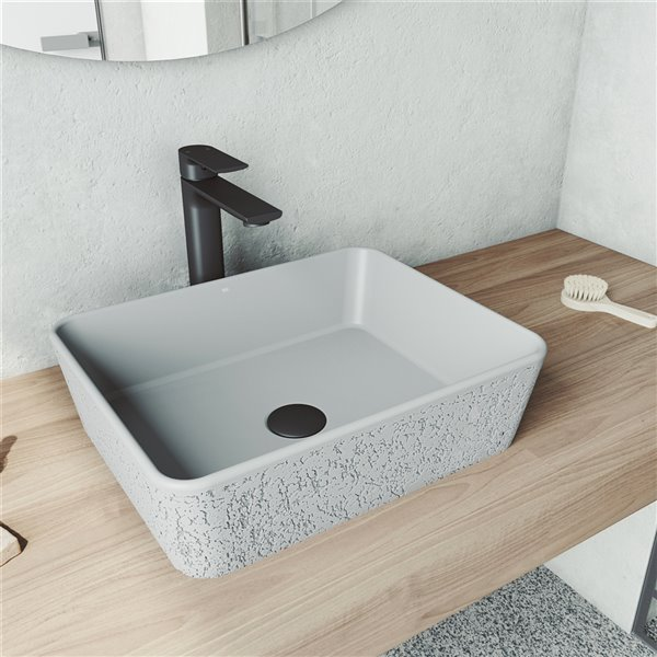 vigo zinnia light grey bathroom sink matte black faucet