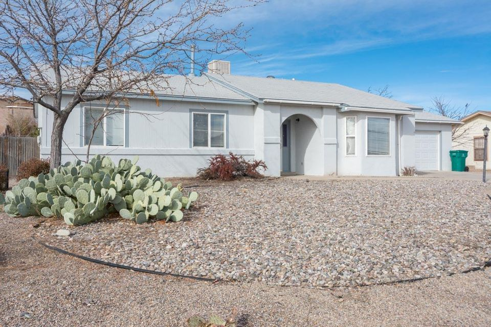 Bring your buyers to look at this. Nice spacious 4 bedroom 3 bath home with private Inlaw suite, large yard including fruit trees, storage sheds, south facing covered porch, and fantastic views of Sandia Mountains. City park just down the street. Great school district. No Poly pipes. See Today won't last long.