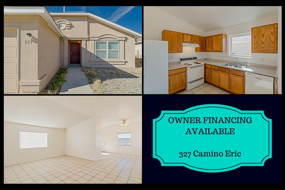 OWNER FINANCING AVAILABLE!  Come home to refrigerated air conditioning, ceramic tile flooring throughout and backyard sunset views of the Sandia Mountains.  East Mountain location with city water, city sewer and natural gas!  Open light and bright floorplan.  Freshly painted.  2 car garage.  Easy access to I-40.  Low energy use heating and refrigerated air conditioning.  Vaulted ceilings.  Walk-in closets in each bedroom.  Peaceful neighborhood.  Fenced backyard with forever views.  Note:  electric range just replaced with natural gas range (see photos).