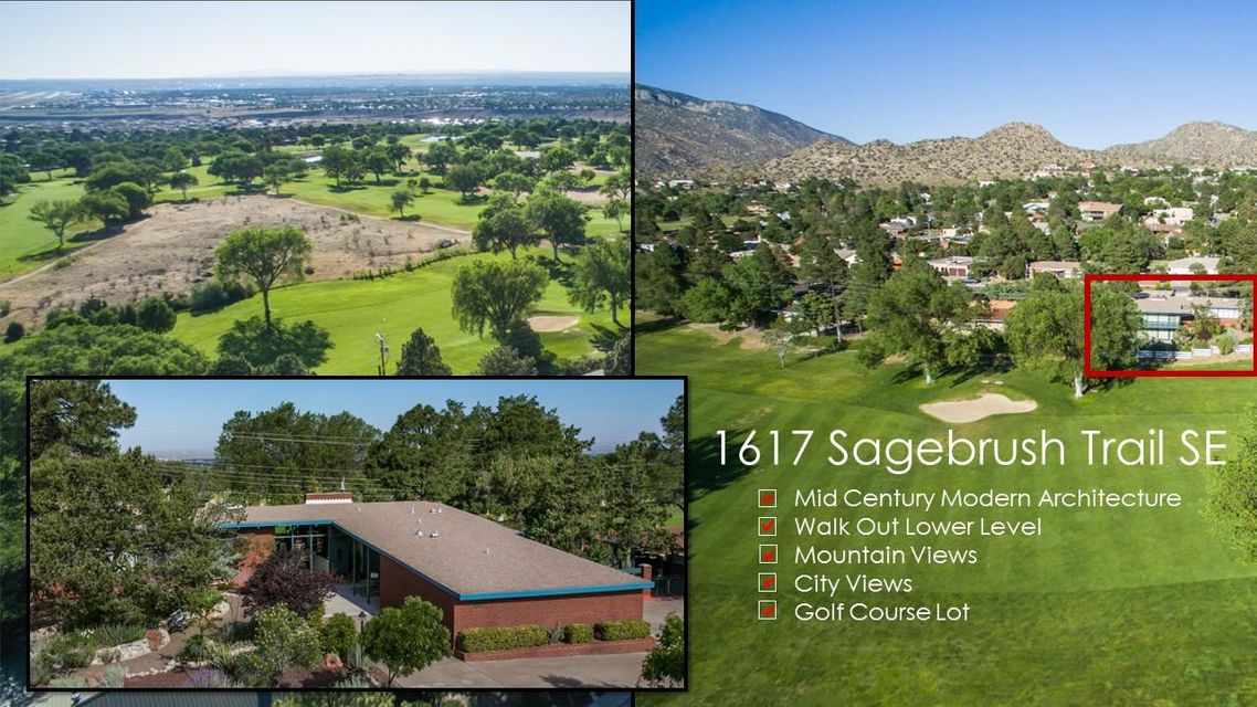 Want city views? Mountain views? A golf course lot? Welcome to 1617 Sagebrush Trail SE on Tee box #10 of the Canyon Club Four Hills Golf Course. A stunning example of Midcentury modern architecture. Custom built home designed by Four Hills Canyon Club architect boasts beamed T&G ceilings throughout, red brick divider walls on both upper/lower levels as well as floor to ceiling windows & sliding doors on both levels, jade green terrazzo flooring on stairway, entry and landings and white terrazzo in lower level; all the key elements you'd expect from this minimalist style integrating open interior spaces with the outdoors. New Roof in 2015. Furnace & AC unit updated. The half-acre lot also hosts an enchanting garden. A unique opportunity to own an amazing piece of architecture on a ...
