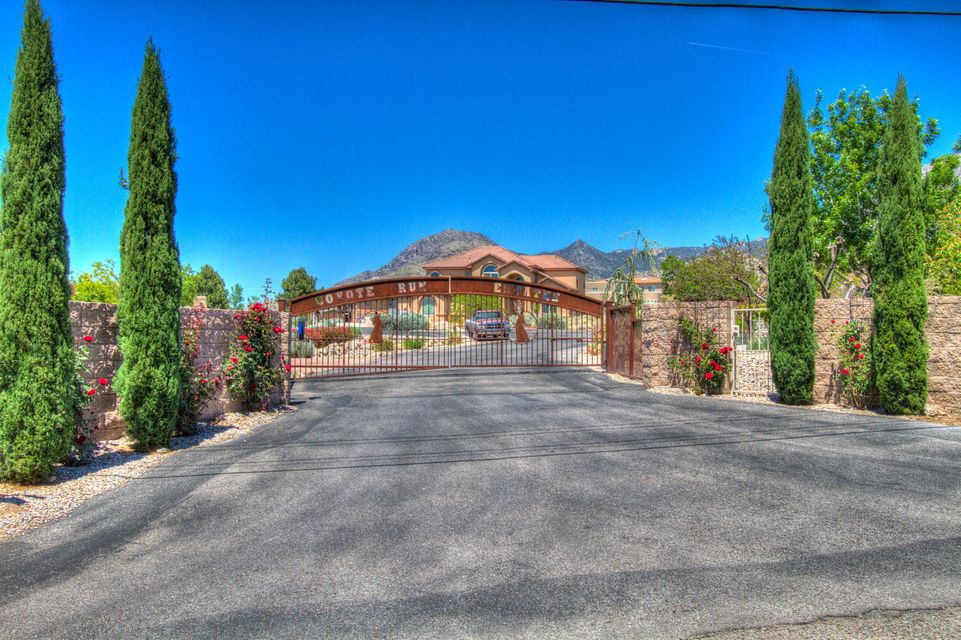 ***The One You Have Been Waiting For! Located In The Prestigious North Abq Acres Gated Community of Coyote Run Is This One Of A Kind Lee Michaels Built Original* Over The Top VIEWS of The Majestic Sandias* Open Light Filled Spaces* Adorned w/ Hand Painted Trompe L'oeil Walls & Ceilings* Romantic Master Bedroom En-suite Thoughtfully Tucked Away On The Upper Level - Separate Sitting Area w/ A Two Way Fireplace - His & Hers California Closets* VIEW Decks That Capture Both The Sunrise & Sunsets! All Other Nicely Sized Bedrooms On The Main Floor Boast Their Own Private Baths & Walk In Closets* Custom Designed Murphy Bed Can Change The Library Into Another Bedroom For Guests* Old World Inspired Dream Kitchen w/ SS Appliances & Slab Granite Counters* AMAZING OVERSIZED 4 Car Garage* Call Today!